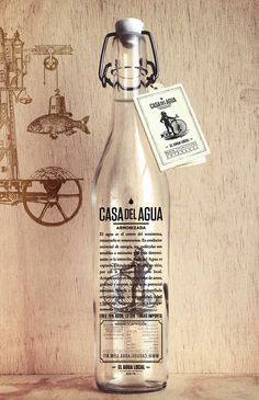 Bottle of Casa Del Agua, herbs infusioned water. Available in Mexico City. #packaging #glass #design
