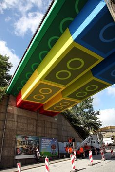 Street Artist 'Megx' Creates Giant Lego Bridge in Germany | Colossal #lego #germany #art #street #bridge