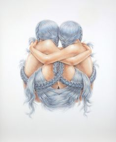 A Hopeful Combination 2013 pencil crayon on paper 44 #illustration #hair #pencil #crayon #braid #embrace
