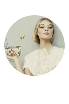 Ulyana Sergeenko HC S'13 look book #glasses #bag #accesories #embroidery