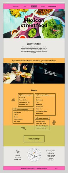 menu, streetfood, design, website, bright