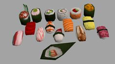 photo #sushi #lowpoly #3d