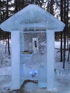 Ice creative phone booth #phone #public #booth #art #street #exterior #telephone