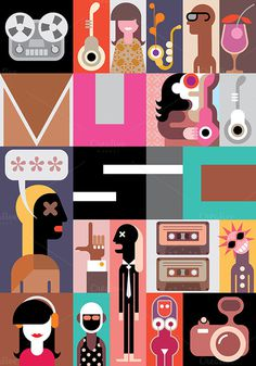 The Music #text #illustration #poster #music #collage