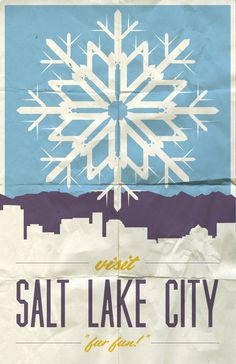 Visit SLC #slc #city #travel #illustration #utah #poster #lake #salt