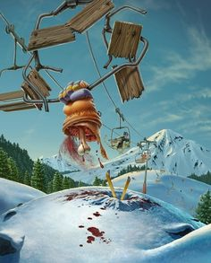 yes, tea on Illustration Served #ski #macabre #lift #illustration #strange #bloody