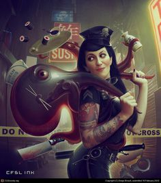 Corpus Delicti - Artbook cover - by Serge Birault | 2D | CGSociety #octopus #girl