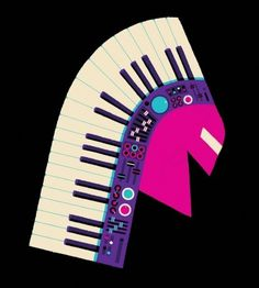 adrian johnson ltd > work #piano #keyboard #head #illustration #portrait #indian #dress