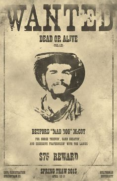 Old West WANTED Poster for Event