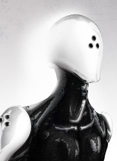 DacE on Behance #white #robot #humanoid #futuristic #fi #sci #black #mechanical #and #android #metal #face