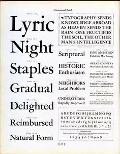 This type specimen shows Garamond Bold designed by Morris Fuller Benton, based on the work on Jean Jannon, not Garamond. #type #specimen #font #typography