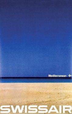 Swissair Mediterrean, Manfred Blinger #manfred #swissair #mediterrean #poster #modernism #blinger