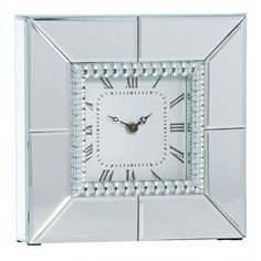 Chriss Mirror Square Table Clock, 25cm