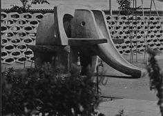 Rutschelfant aus Fertigteilen 1965 #design #playground #elephant #kids #slide