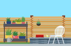 Backyard Patio Illustration – Nathan Manire #flora #retro #icons #theme #illustration #vintage #midcentruy #decoration #modern #design #color #geometric #series #room #flat #soundfreaq #backyard #grass #summer #interior #plants #chair #decor #home #simple #garden