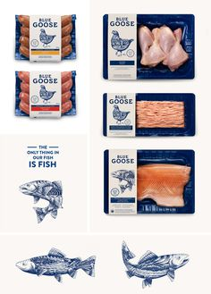 BLUE GOOSE PURE FOODS Flavio Carvalho graphic design / art direction #illustration #meat