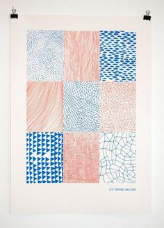 http://www.lestontonsracleurs.be/ #pattern #red #drawn #blue #hand