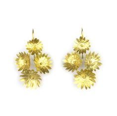 Image of Fiori Earrings-4-Vermeil #the #golden #smith #gold #flowers #floral #jewelry #earrings #sculpture