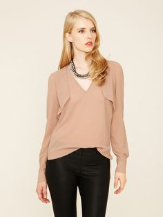 Mackage Crepe V Neck Flutter Blouse