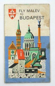 VINTAGE MAP BUDAPEST MALEV AIRLINES FLY COMPANY HUNGARY ADVERTISING SEE!! » | eBay #budapest #city #travel #illustration #vintage