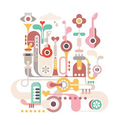 Abstract vector composition with musical instruments. #bizarre #retro #icons #set #eye #illustration #shape #vintage #music #flower #car #fantastic #concert #pastel #abstract #guitar #background #white #festival #sky #cloud #jazz #design #figure #strange #party #heart #piano #city #rain #holiday #sax #vector #graphic #sound #art