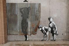 Banksy, spray paint, graffiti, art, clever, street, urban, stencil