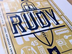 Dribbble - Rudy Prints by Scott Hill #design #icons #poster #film #gold #logo #football