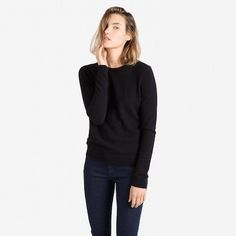 The Women's Crew Cashmere Sweater - Black – Everlane