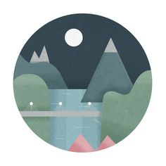 Landscpae #illustration #nature #moon #landscape