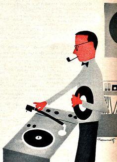 Record Love!1959 illustration/consumer reports magazine