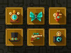 Flat steampunk icon set