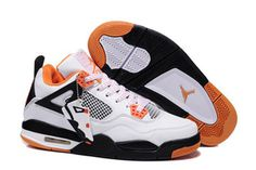 Kids Sport Shoes:White & Black - Orange Jordan Retro 4 - Release Reminder #shoes