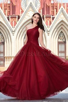 eDressit Newest Burgundy One Shoulder Prom Ball Party Dress (00200517)