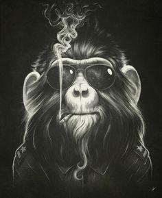 Artprint, monkey, smokeing