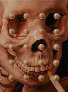 supersonic electronic / art Stephanie Henderson. #pearls #geometry #cigarette #paint #painting #skull