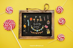 Birthday concept with lollipops and slate Free Psd. See more inspiration related to Mockup, Birthday, Happy birthday, Party, Anniversary, Celebration, Happy, Candy, Chalkboard, Mock up, Decoration, Decorative, Celebrate, Birthday party, Sweets, Festive, Up, Lollipop, Birth, Happy anniversary, Concept, Slate, Annual, Composition, Mock and Lollipops on Freepik.