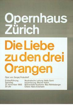Josef Müller-Brockmann DIE LIEBE ZU DEN DREI ORANGEN [ 128CM X 90CM ] via www.blanka.co.uk