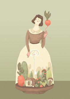 INTERNAL UNIVERSE on Behance #woman #vegetables #food #skirt #illustration