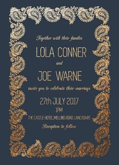 Paisley - Wedding Invitations #paperlust #weddinginvitation #weddingstationery #weddinginspiration #card #print #digitalprint