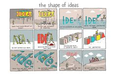 Words and Pictures by Grant Snider http://www.incidentalcomics.com/2014/08/the-shape-of-ideas.html #inspiration #process #comic #illustration #shape #idea