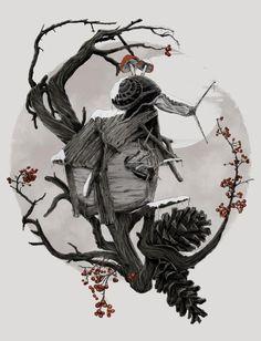 ÆFTERA YULE #mushroom #semeano #pinetree #house #tree #branch #pedro #graphic #cherry #wood #illustration #snail #pine #drawing #allegiance #winter