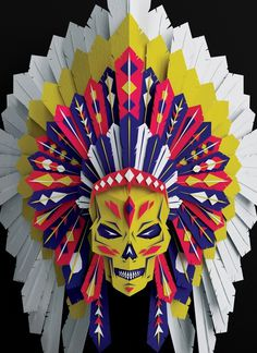 Vault49 | Portfolios | 3D Sets | Vault49 Headdress #indian #cut #paper #skull