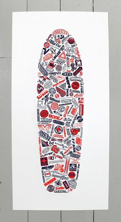 Collection of vintage (1970's) skateboard logos, redrawn and arranged within the shape of a classic 70's skate deck. Red 701 screen print by
