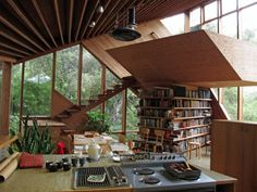 this isn't happiness™ #house #books #home #kitchen #stairs #mod