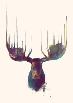 Moose Art Print by Amy Hamilton #deer #painting #illustration #print #design #art