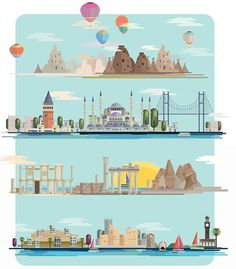 Illustrations of Turkey for Skylife #turkey #design #skylife #landmarks #illustration #art