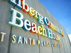 rainbow letters in santa monica #rainbow #typography #environmental design #wayfinding #sign #beach