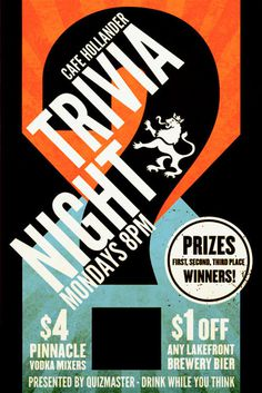 Trivia Night By Rev Pop #trivia #design #advertising #cafe #hollander #poster #games