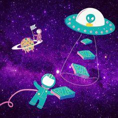 Delivery EVERYWHERE #pattern #patterncreation #estampa #estampas #estampasexclusivas #printandpattern #astronaut #astronauta #pizza #pizzadelivery #et #alien #alienigena #outerspace #welovepizza #instapattern #instapatterns #abduction #abdução #espacosideral #ilustracao #illustration