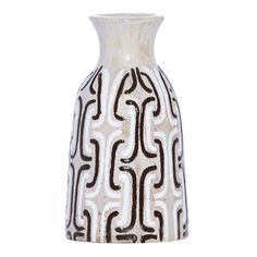Chocolate & White Geometric Terracotta Vase, 18 cm